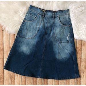 Anthropologie Pilcro Distressed Denim Skirt sz 4